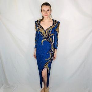 SHO MAX Originals Vintage Beaded Glamour Gown Sequ
